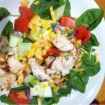 Healthy BBQ Chicken spinach salad!!