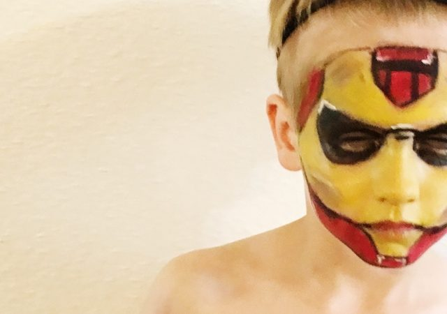 Children's Iron Man Halloween Face Painting.